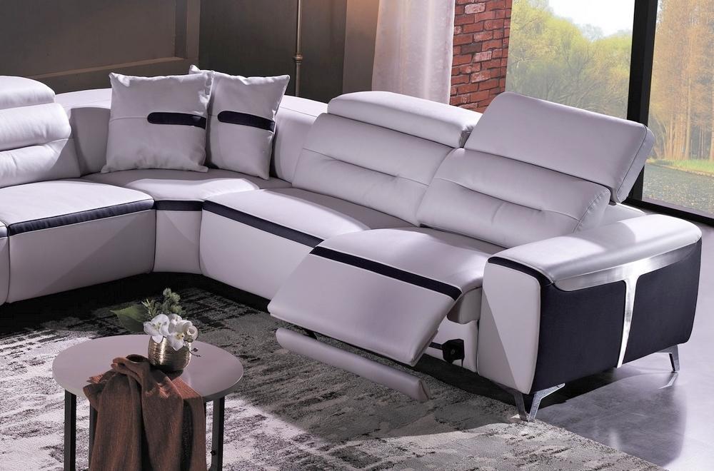 Canap d 39 angle relax lectrique en cuir buffle italien de luxe combirelax blanc et noir angle for Mobilier contemporain luxe