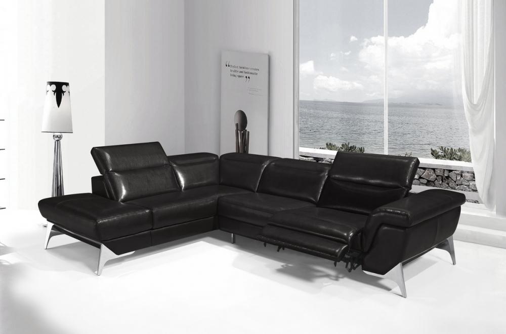 Canapé d'angle fonction relax en cuir italien 5 places ...