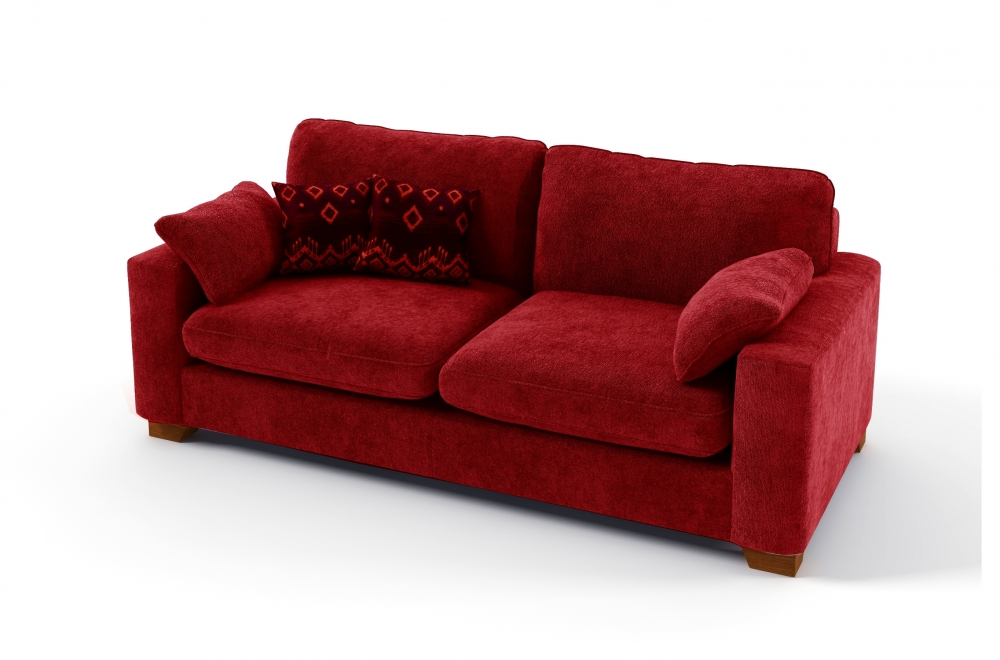 Canap 3 places en tissu de qualit cosy rouge mobilier priv - Canape rouge 3 places ...