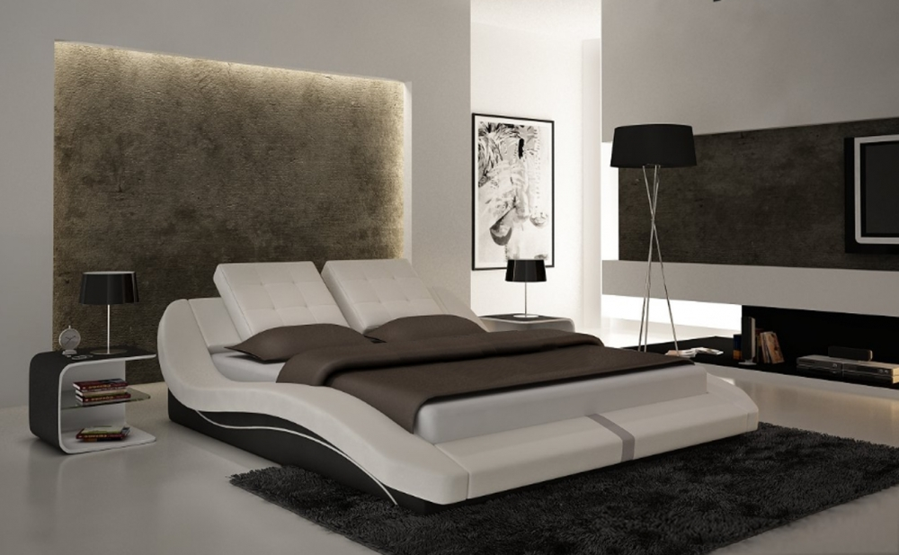 lit design en cuir italien de luxe delicia blanc gris. Black Bedroom Furniture Sets. Home Design Ideas