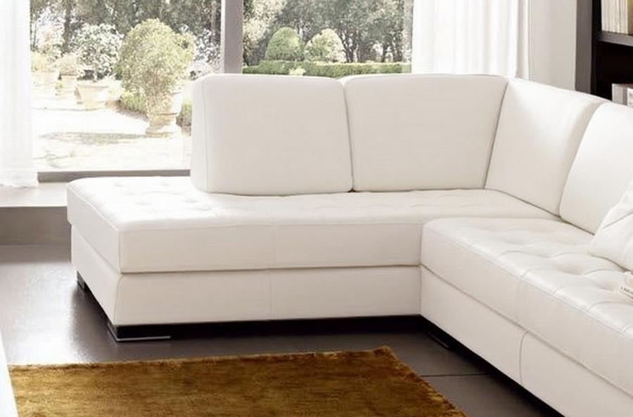Canap d 39 angle divano en cuir italien vachette de qualit blanc mobili - Canape bonne qualite ...