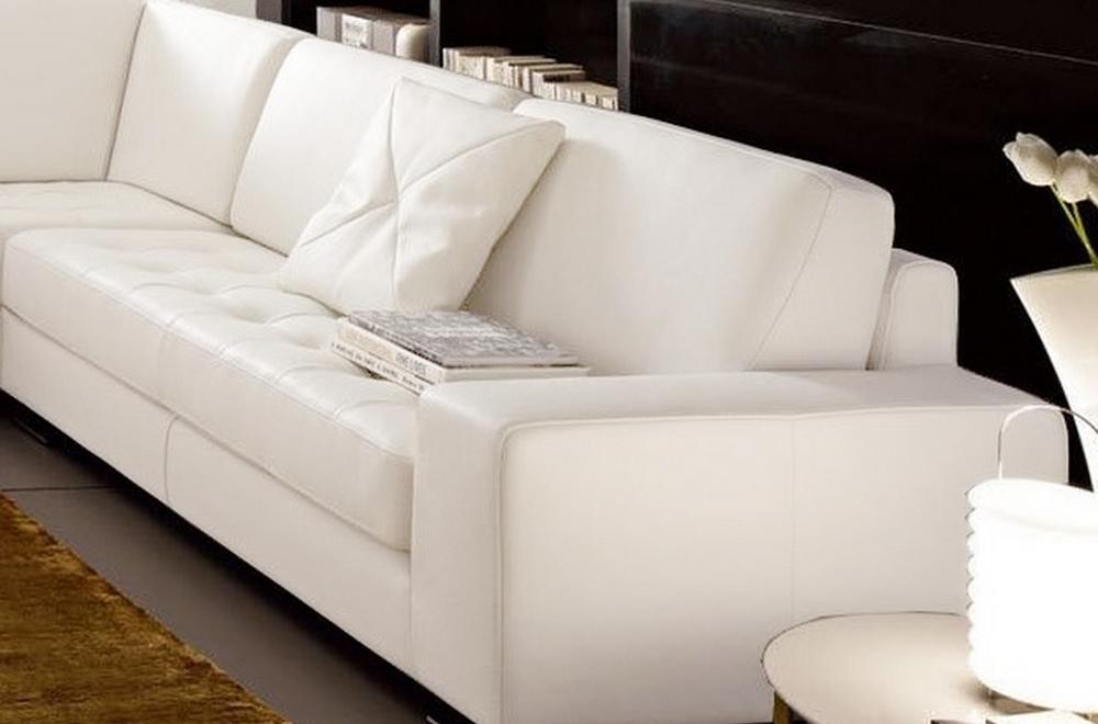 Canap d 39 angle divano en cuir italien vachette de qualit blanc angle gauche mobilier priv - Canapes de qualite ...