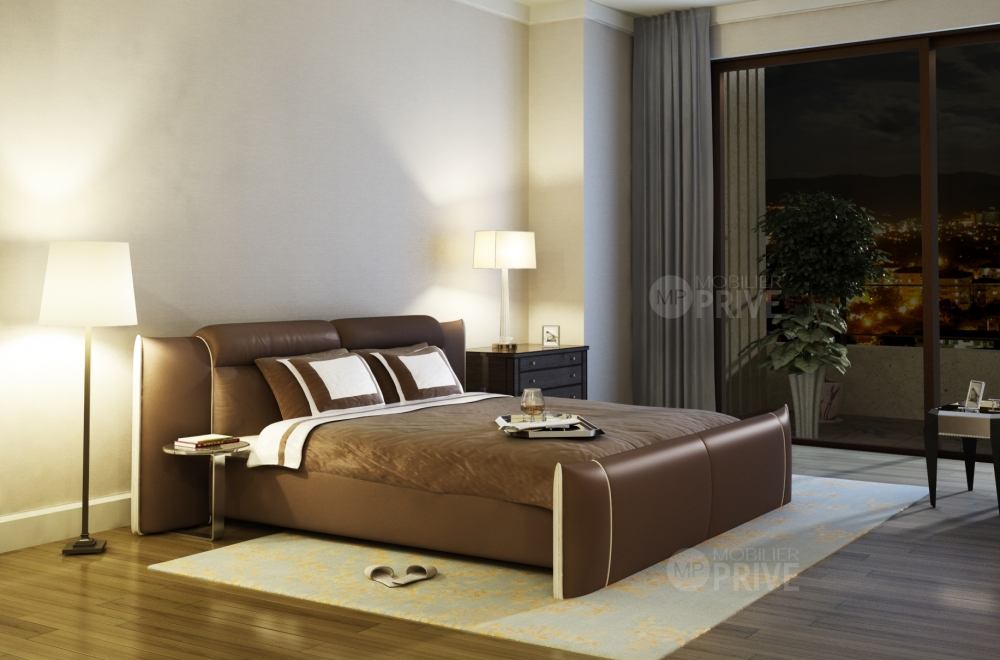 lit en cuir italien de luxe dorna chocolat mobilier priv. Black Bedroom Furniture Sets. Home Design Ideas