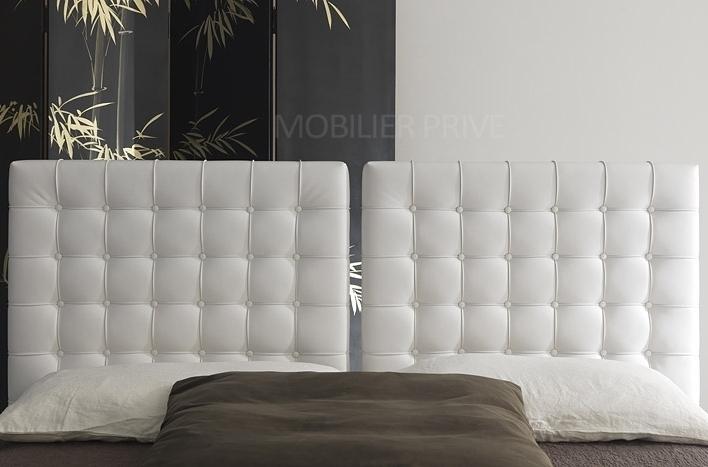 Lit en cuir italien de luxe duo blanc mobilier priv for Mobilier contemporain luxe