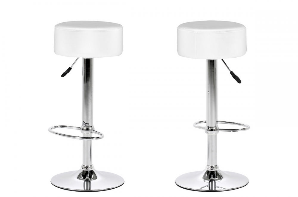 Lot de 2 tabourets design en simili cuir blanc, dustin - Mobilier Privé 148d40c7df44