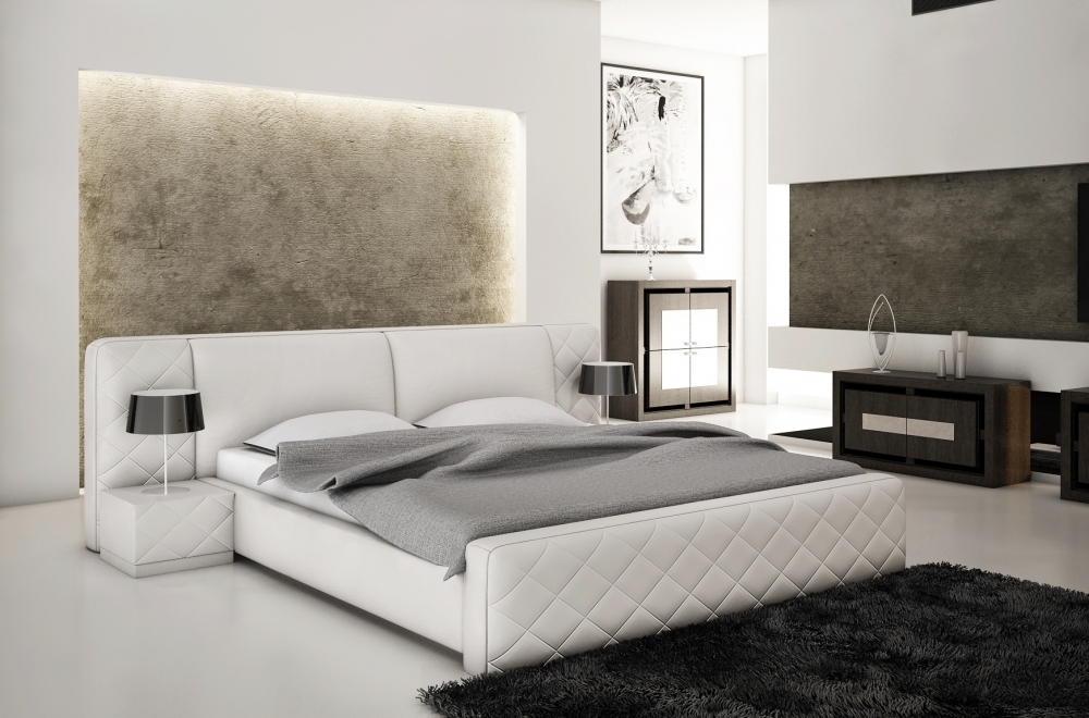 lit en cuir italien de luxe elegance blanc mobilier priv. Black Bedroom Furniture Sets. Home Design Ideas