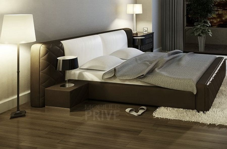 lit en cuir italien de luxe elegance chocolat et blanc mobilier priv. Black Bedroom Furniture Sets. Home Design Ideas