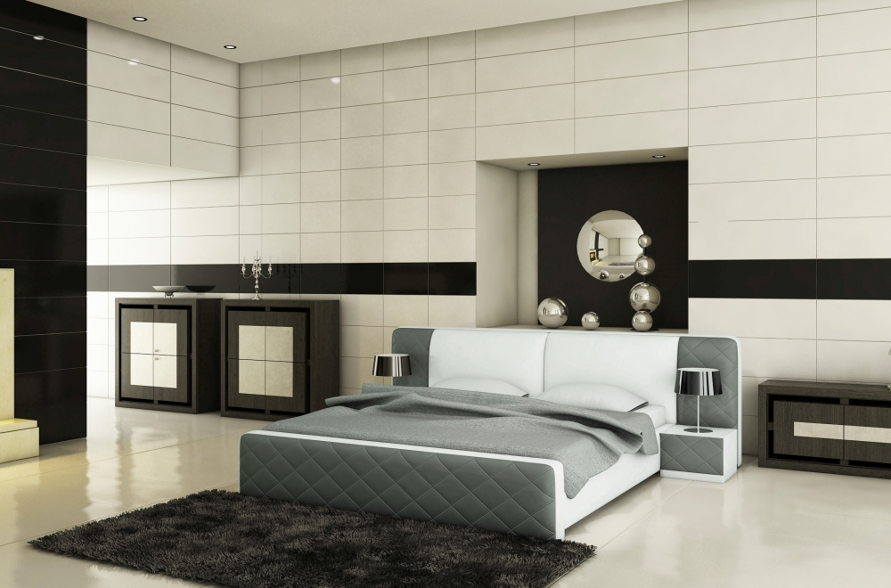 lit en cuir italien de luxe elegance gris fonc et blanc. Black Bedroom Furniture Sets. Home Design Ideas