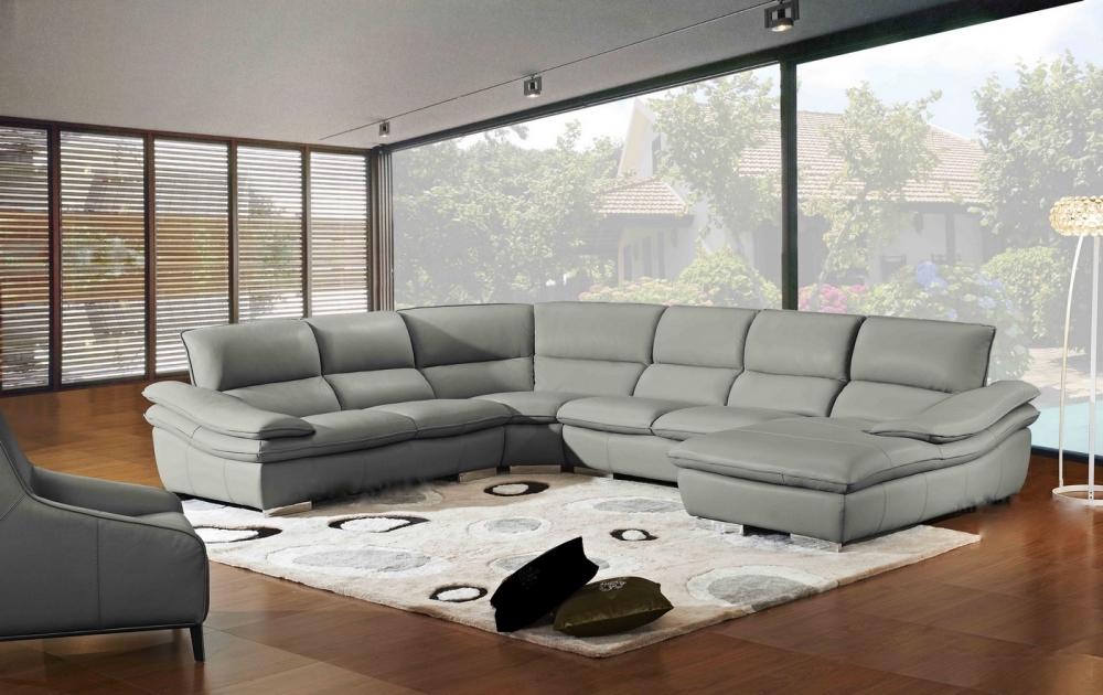 Canap d 39 angle elegancio gris fonc en cuir prestige luxe Canape luxe italien