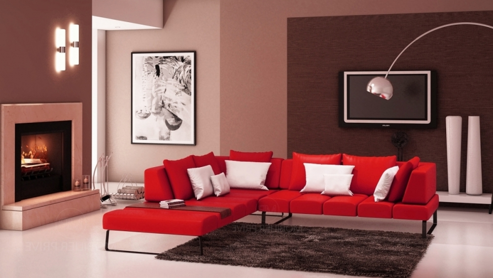 Canap d 39 angle en cuir italien 6 7 places elena rouge for Canape angle 6 7 places
