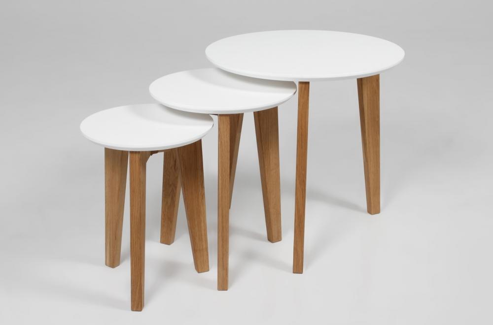 en tables blanc bois lacqué basses Ensemble 3 design ELISE de OkZiPuX