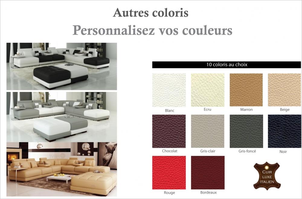 Canapé d'angle en cuir italien 7/8 places ELIXIR, couleurs personnalisées