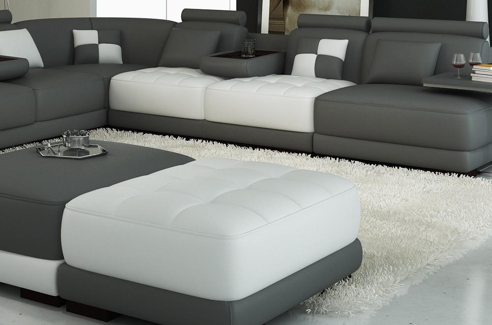 canap d 39 angle en cuir italien 7 8 places elixir gris fonc et blanc mobilier priv. Black Bedroom Furniture Sets. Home Design Ideas