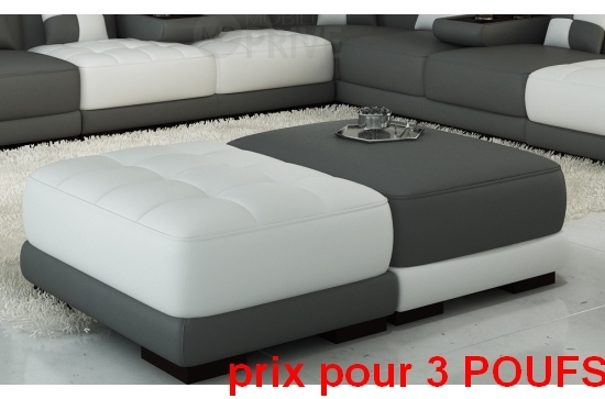 ensemble de 3 poufs en cuir italien elixir gris fonc et. Black Bedroom Furniture Sets. Home Design Ideas