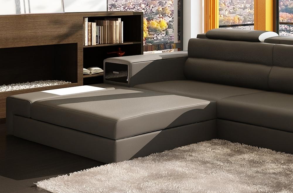 Canap d 39 angle en cuir italien 4 5 places enjoy gris for Canape angle cuir gris