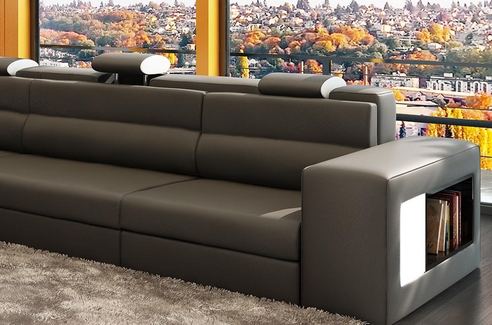 canap d 39 angle en cuir italien 4 5 places enjoy gris. Black Bedroom Furniture Sets. Home Design Ideas