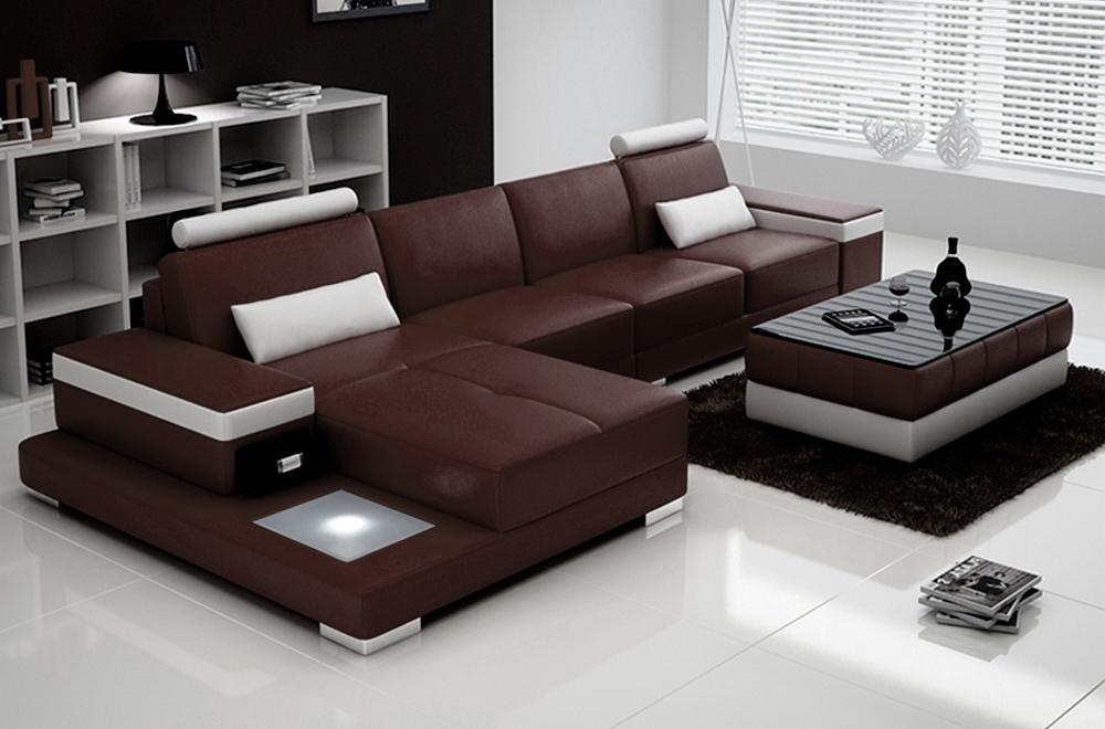canap d 39 angle en cuir italien 5 places enzo chocolat et blanc mobilier priv. Black Bedroom Furniture Sets. Home Design Ideas