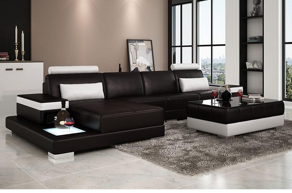 canap d 39 angle en cuir italien 5 places enzo noir et blanc mobilier priv. Black Bedroom Furniture Sets. Home Design Ideas