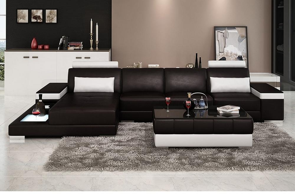 Canapé d'angle en cuir italien 5 places enzo, noir et ...