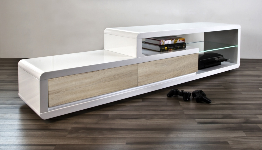 Meuble tv design blanc laqu brillant ertis mobilier priv for Qui connait meubles concept