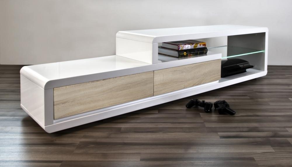 Meuble Tv Design Blanc Laque Brillant Ertis Mobilier Prive