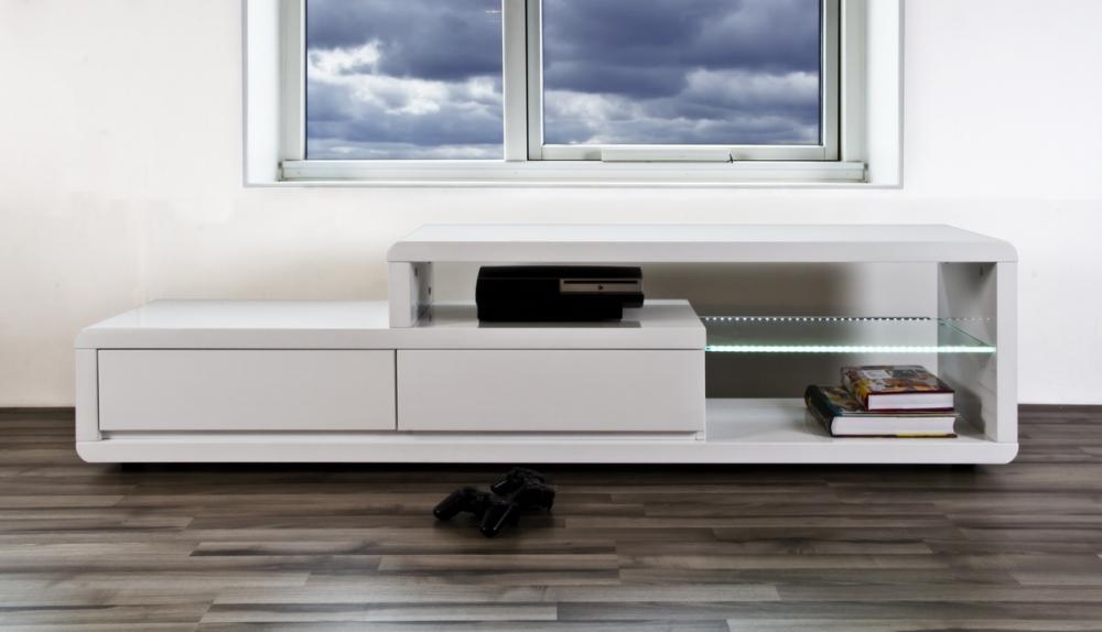 Meuble Tv Design Blanc Laque Brillant Erta Mobilier Prive