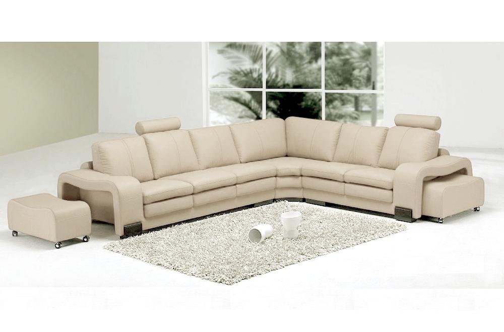 canap d 39 angle en cuir italien 7 places evita cru mobilier priv. Black Bedroom Furniture Sets. Home Design Ideas
