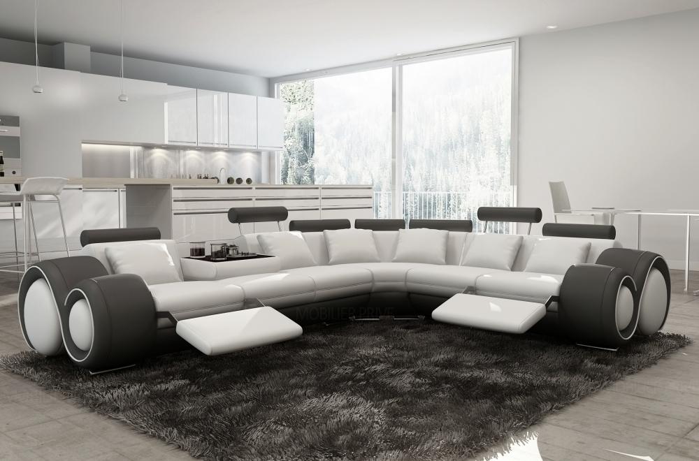 Canapé d'angle en cuir italien 5/6 places PETIT EXCELIA, blanc et noir angle droit.