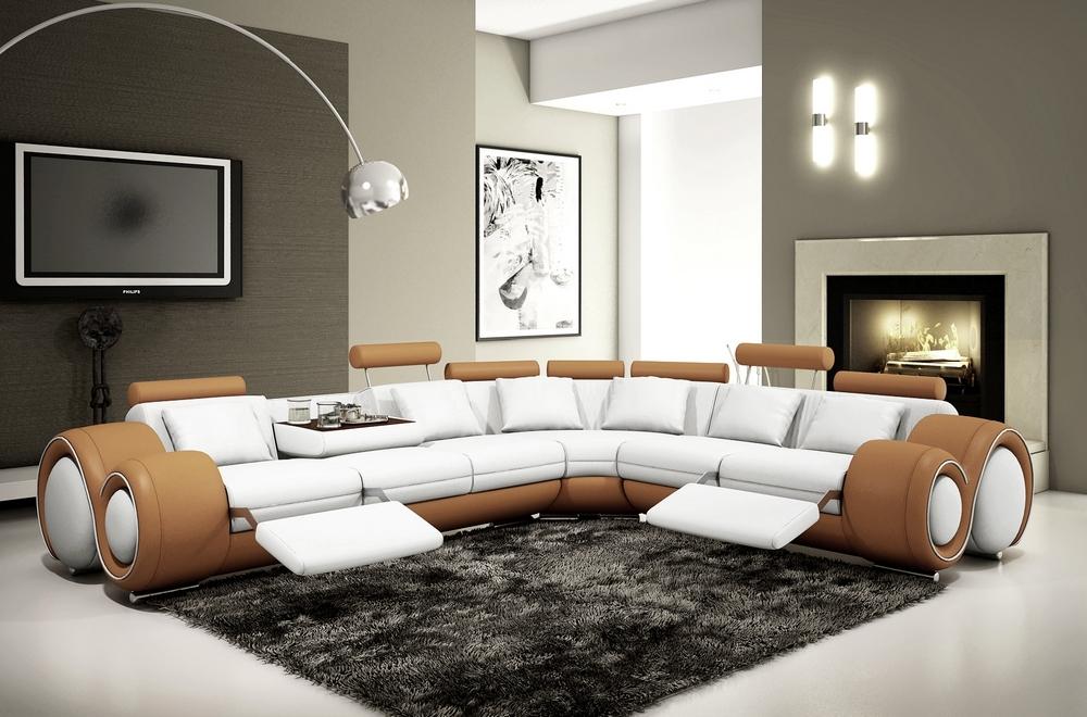 Canapé d'angle en cuir italien 5/6 places PETIT EXCELIA, blanc et marron, angle droit