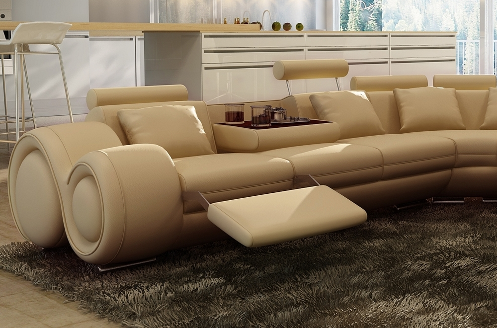 canap d 39 angle en cuir italien 7 places excelia beige 2 poufs offerts mobilier priv. Black Bedroom Furniture Sets. Home Design Ideas