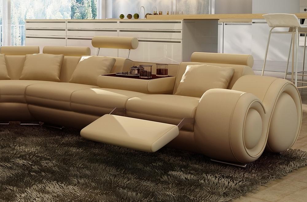 Canap d 39 angle en cuir italien 7 places excelia beige - Canape cuir beige 3 places ...