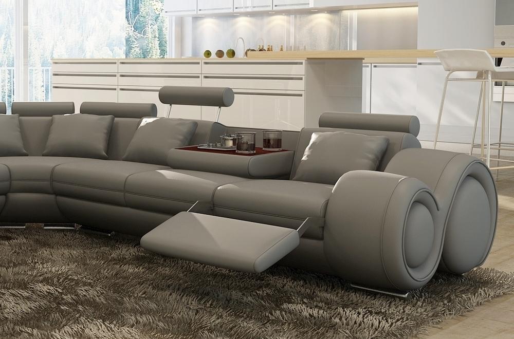 canap d 39 angle en cuir italien 7 places excelia gris clair 2 poufs offerts mobilier priv. Black Bedroom Furniture Sets. Home Design Ideas