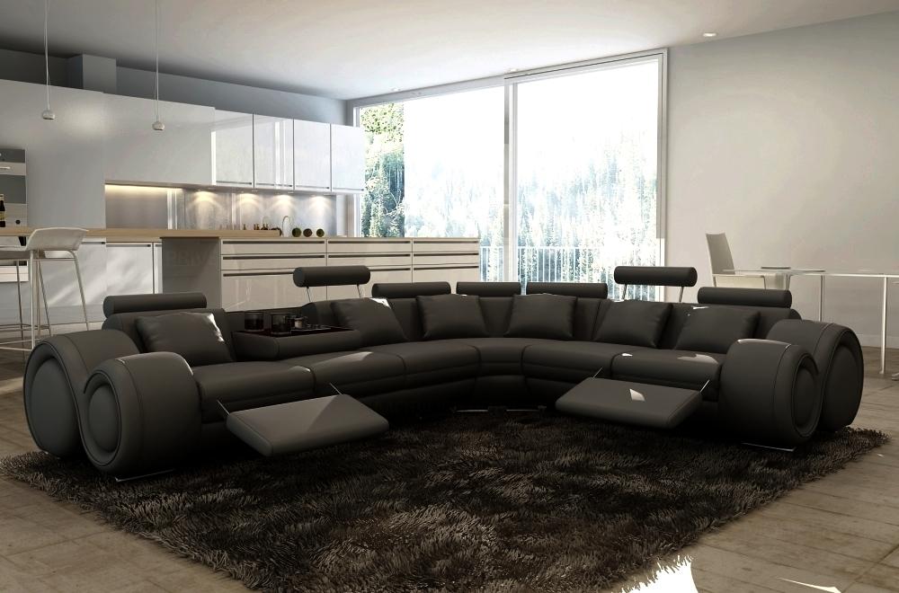 Canapé d'angle en cuir italien 5/6 places PETIT EXCELIA, noir