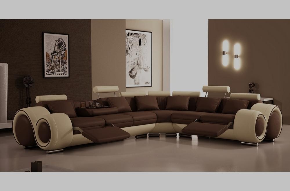 Canapé d'angle en cuir italien :  5/6 places PETIT EXCELIA, chocolat et beige, angle droit