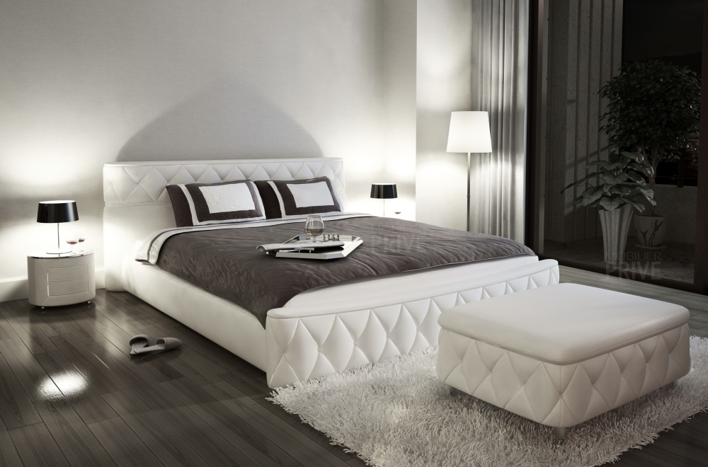 lit en cuir italien de luxe farniente 180x200 blanc mobilier priv. Black Bedroom Furniture Sets. Home Design Ideas