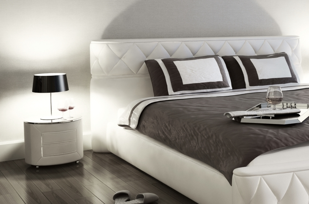 lit en cuir italien de luxe farniente blanc 140x190 mobilier priv. Black Bedroom Furniture Sets. Home Design Ideas