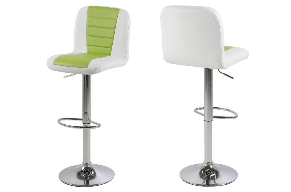 tabouret design en simili cuir blanc et vert citron. Black Bedroom Furniture Sets. Home Design Ideas