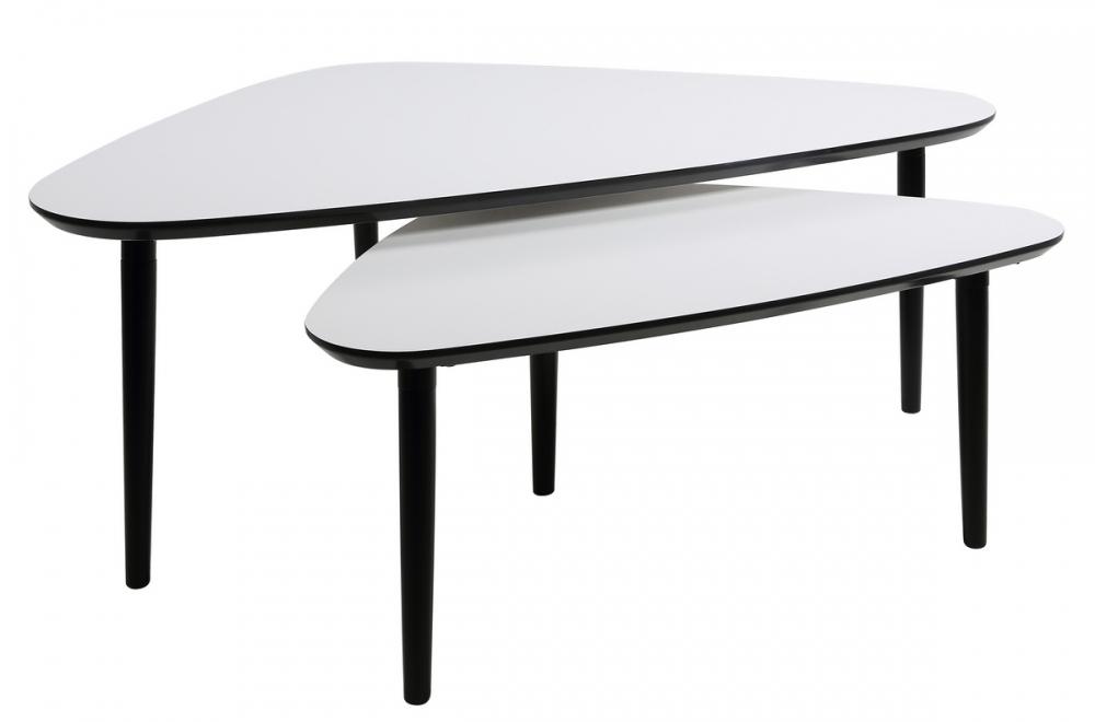 Mobilier Laque Contemporain Table Basse : Ensemble de tables basses design en bois laqué blanc