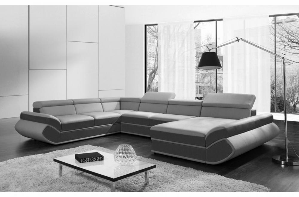 Canapé d angle convertible genova en simili cuir de qualité gris
