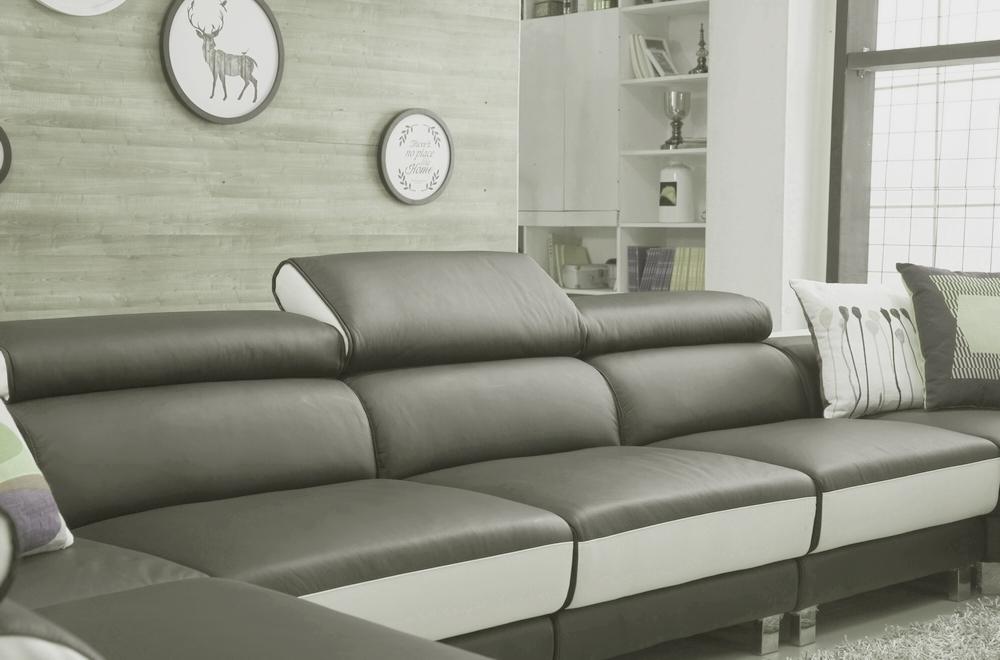 Canap d 39 angle en cuir buffle italien de luxe 8 9 places giant gris fonc - Canape d angle cuir de buffle ...