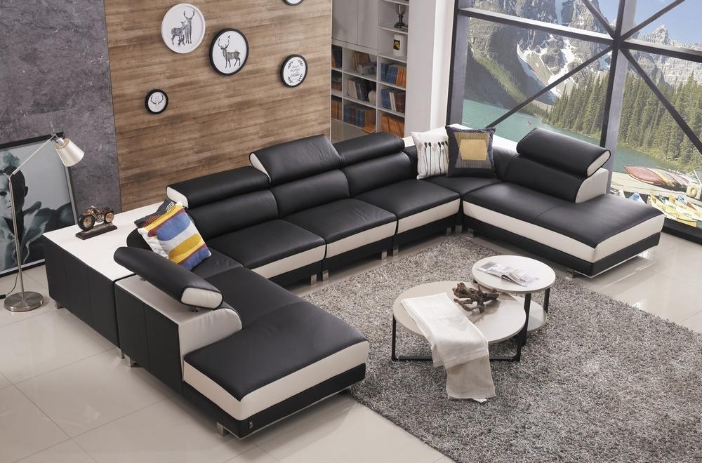 Canap d 39 angle en cuir buffle italien de luxe 8 9 places giant noir et b - Canape d angle 8 places ...