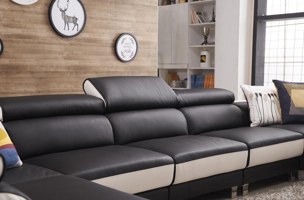 canap d 39 angle en cuir buffle italien de luxe 8 9 places giant noir et blanc mobilier priv. Black Bedroom Furniture Sets. Home Design Ideas