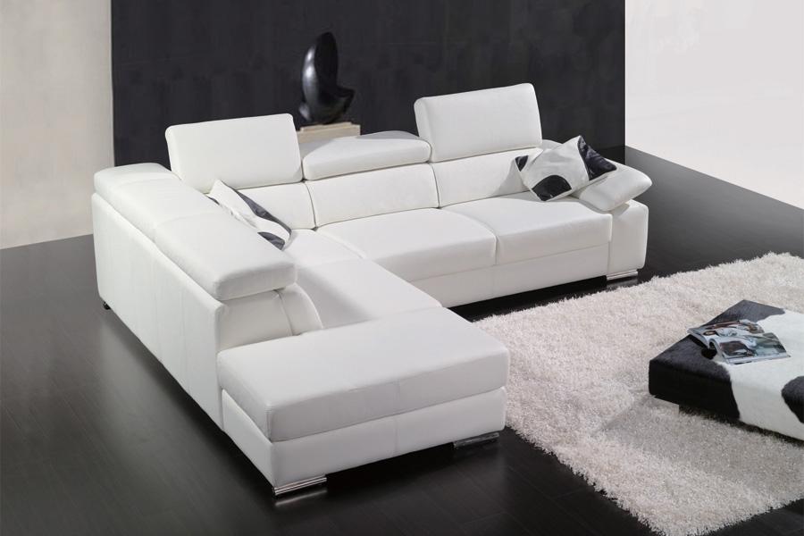 Canapé d angle en cuir italien 5 places helios blanc Mobilier Privé