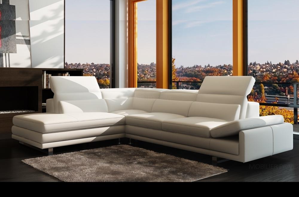 meilleur service ecbdd 58947 Canapé d'angle en cuir italien 6/7 places IZEN, blanc