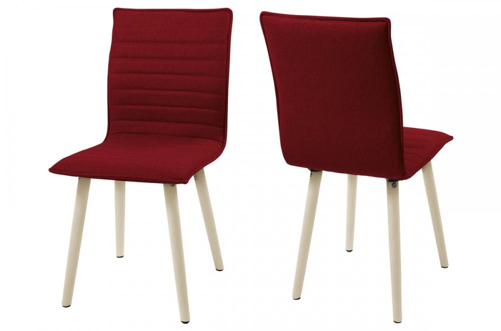 Lot De 2 Chaises Design Tissu Rouge Pieds Blancs Kenza