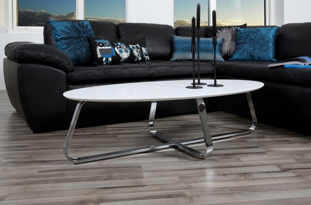 Table Basse Design Bois Laqué Blanc Mat Kenzi Mobilier Privé