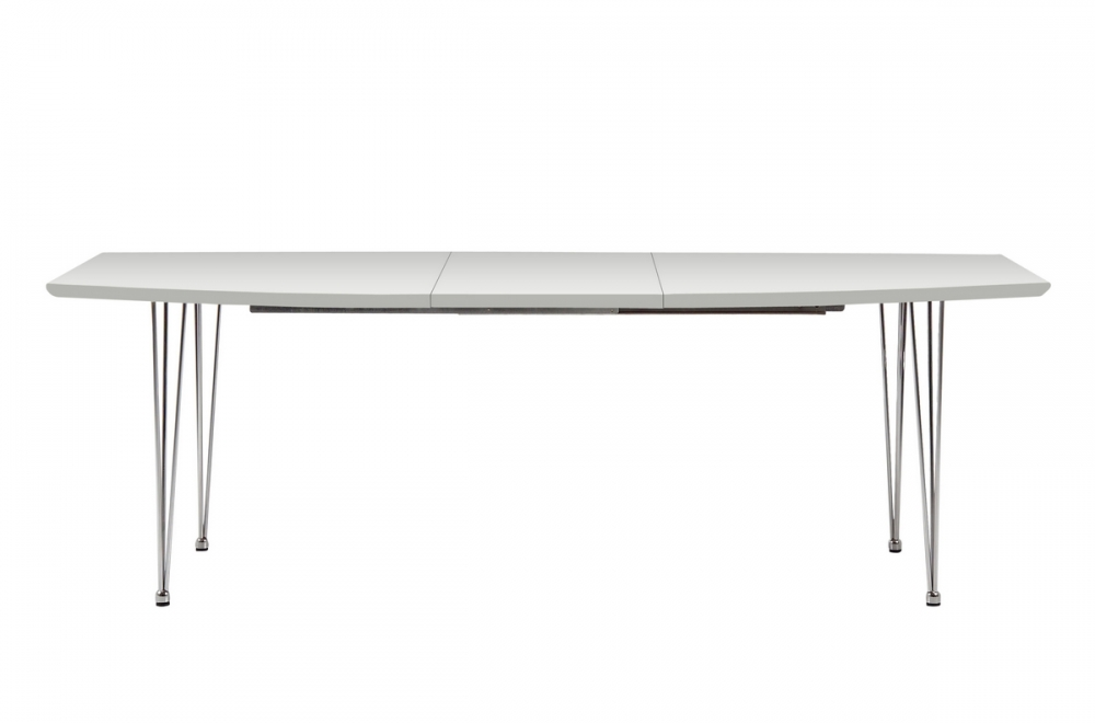Table manger avec rallonge blanc laqu kyoto mobilier for Table manger rallonge