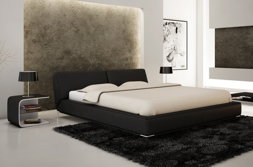 lit design en cuir italien de luxe letto noir mobilier. Black Bedroom Furniture Sets. Home Design Ideas
