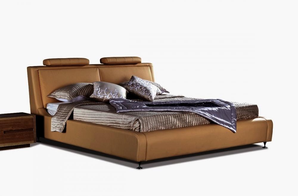 lit en cuir italien de luxe livourne 160x200 marron mobilier priv. Black Bedroom Furniture Sets. Home Design Ideas