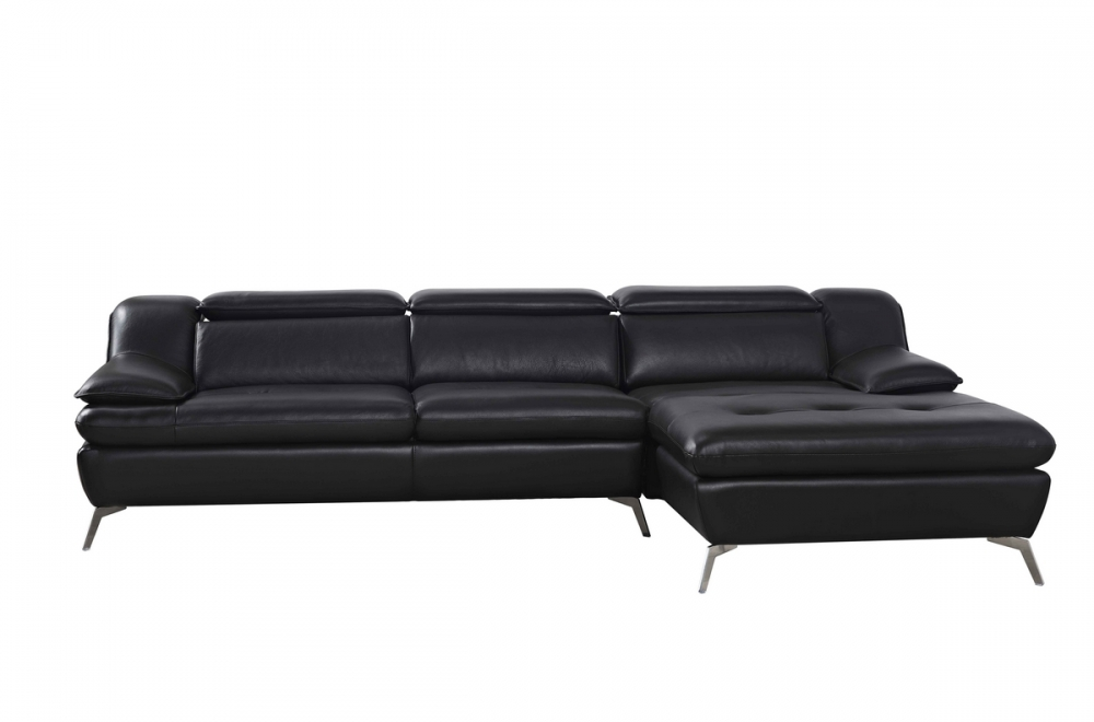 canap d 39 angle en cuir italien 5 places liberty noir. Black Bedroom Furniture Sets. Home Design Ideas